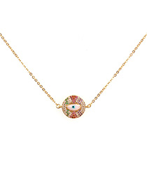 Fashion Golden Micro Inlaid Zircon Water Drop Diamond Eye Drops Necklace