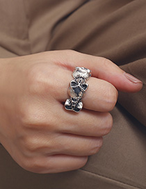 Fashion Old Silver Ring Multi-layered Cross Chain Multi-layer Fringed Skull And Diamond Necklace