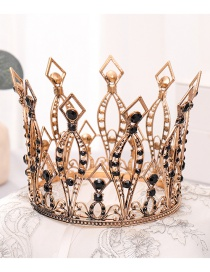 Fashion Black Full Circle Hollow Diamond Crown