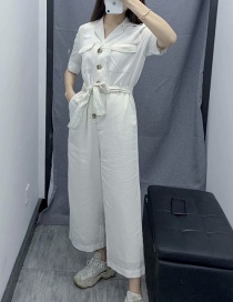 Fashion White Contrast Line Pocket Lace Jumpsuit