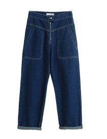Fashion Blue Washed Front Zipper Large Pocket Denim Overalls