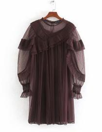 Fashion Dark Red Tulle Panel Round Neck Dress