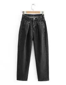 Fashion Black Washed Pleated High-rise Jeans