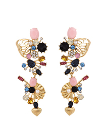 Fashion Color Alloy Diamond Butterfly Wing Stud Earrings
