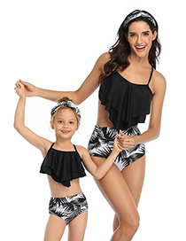 Fashion Up Black Down Black Flower Printed Stitching Double Lotus Leaf Parent-child Bikini Children