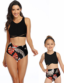 Fashion Black Hollow Ruffled Fringe High Waist Bikini Children
