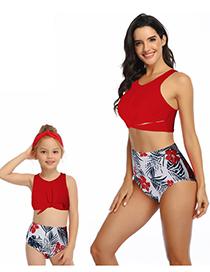 Fashion Red Hollow Ruffled Fringe High Waist Bikini Children