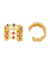 Fashion Golden C-shaped Micro Inlaid Zircon Multilayer Earrings