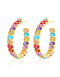 Fashion Color Copper Studded C-shaped Stud Earrings