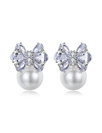 Fashion Platinum Butterfly Pearl Copper Stud Earrings