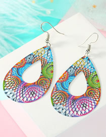 Fashion Drop-shaped Color Geometric Openwork Carved Leaf Earrings