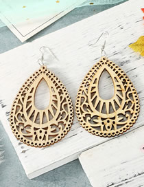 Fashion Beige Carved Hollow Wood Large Water Drop Earrings