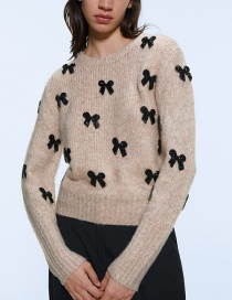 Fashion Apricot Bow Sweater