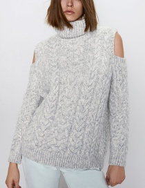 Fashion Gray Open-knit Knitted Sweater