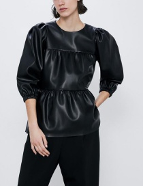 Fashion Black Layered Faux Leather Top