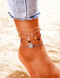 Fashion Golden Beads With Rhinestones And Tassel Geometric Anklets