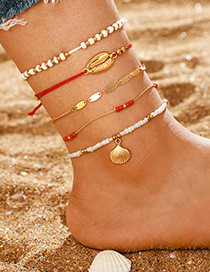 Fashion Golden Shell Multi-layer Rice Bead Anklet Set Of 5