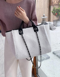 Fashion White Plush Chain Shoulder Crossbody Bag