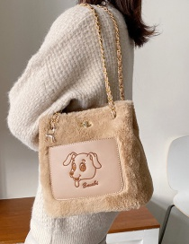 Fashion Khaki Furry Chain Shoulder Bag