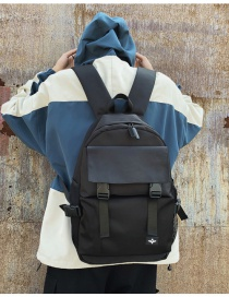 Fashion Black Labeled Mesh Stitching Backpack