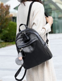 Fashion Black With Pendant Contrast Stitching Backpack