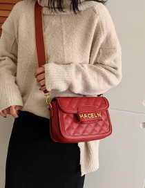 Fashion Red Wine Diamond Check Shoulder Bag
