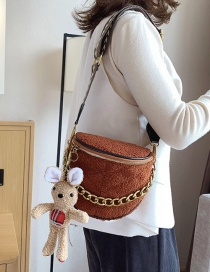Fashion Twill Brown With Pendant Woolen Shoulder Strap Chain Shoulder Bag