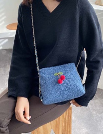 Fashion Blue Plush Chain Cross-body Bag