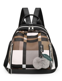 Fashion Brown With Pendant Contrast Check Backpack