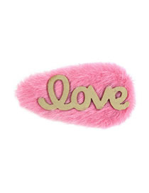 Fashion Rose Red Alloy Plush Love Letter Bb Clip