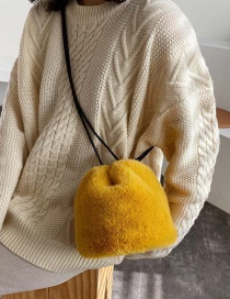Fashion Yellow Furry Crossbody Shoulder Bag