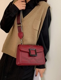 Fashion Red Wide Shoulder Strap Rhombus Crossbody Shoulder Bag