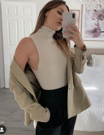 Fashion Apricot Threaded Turtleneck Bodysuit