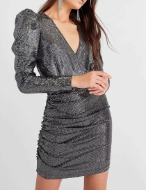 Fashion Silver V-neck Sequin Embroidered Dress