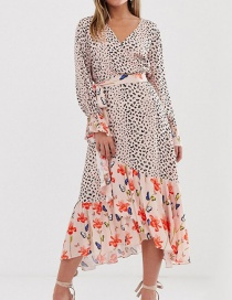 Fashion Color Flower Ben Printing And Dyeing Patchwork Ruffle Dress