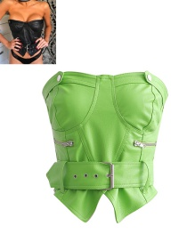Fashion Green Leather Zipped Chest With Belt