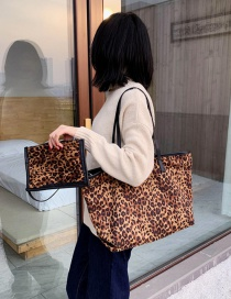 Fashion Brown Leopard Stitching Bag Shoulder Bag Mother And Child Bag