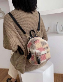 Fashion Pink Plush Contrast Checked Backpack