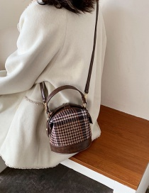 Fashion Coffee Color Contrast Check Stitching Shoulder Bag