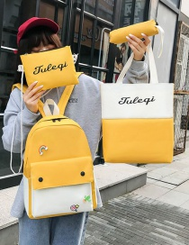 Fashion Yellow Canvas Letter Print Contrast Stitching Backpack Four Piece Set