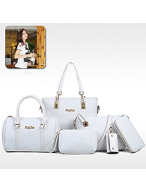 Fashion White Alloy Letter Embroidered Single Shoulder Diagonal Mother-in-law Bag