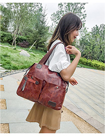 Fashion Brown Zipped Panel Shoulder Bag