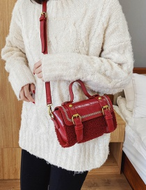 Fashion Red Contrast Embroidered Lambskin Cross-body Bag