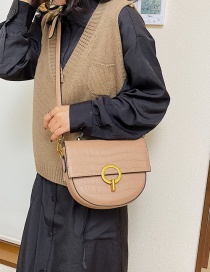 Fashion Khaki Round Lock Stone Crossbody Bag