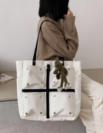 Fashion White Send Pendant Canvas Contrast Doll Shoulder Bag