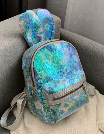 Fashion Light Blue Stars Sequined Bunny Ears Backpack
