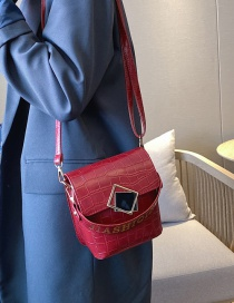 Fashion Red Crocodile Bronzing Chain Diagonal Shoulder Bag