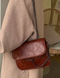 Fashion Red Wine Diamond Chain Stitched Crossbody Bag