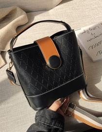 Fashion Texture Black Rhombus Panel Shoulder Bag
