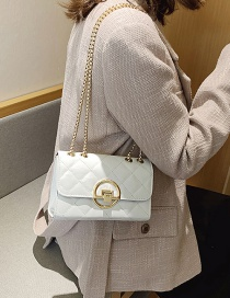 Fashion White Lock Diamond Chain Cross-body Shoulder Bag
